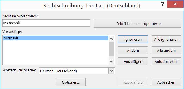 "Dialogfeld ""Rechtschreibprüfung"""