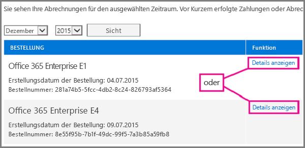 """Wählen Sie den Link """"Details anzeigen"""" für das Abonnement aus, zu dem Sie die Rechnung anzeigen möchten."""