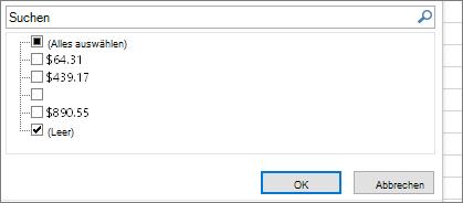 """Filtermenü mit deaktiviertem Kontrollkästchen """"Alles auswählen"""" und aktiviertem Kontrollkästchen """"Leere"""""""
