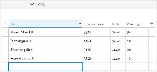 QuickEdit-Bildschirm mit hinzugefügten Spalten und Daten