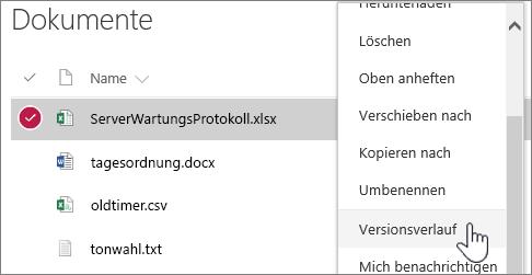 "Kontextmenü ""Dokumentbibliothek"" mit hervorgehobener Option ""Versionsverlauf"""