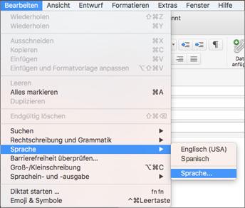"""Outlook 2016 für Mac – Menü unter """"Bearbeiten"""" > """"Sprache"""""""