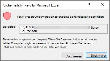 Microsoft Excel-Sicherheitshinweis – zeigt an, dass Excel ein potenzielles Sicherheitsproblem identifiziert hat. Wählen Sie aktivieren aus, wenn Sie den Speicherort der Quelldatei als vertrauenswürdig einstufen.
