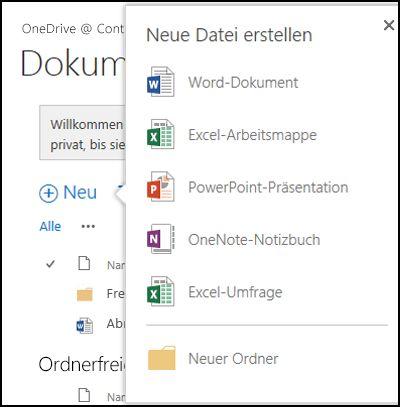 """Office Online-Optionen, die Sie über die Schaltfläche """"Neu"""" in OneDrive for Business verwenden können"""