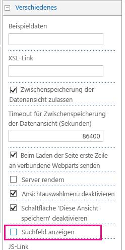 """Listeneigenschaft """"Suchfeld anzeigen"""" unter """"Verschiedenes"""""""