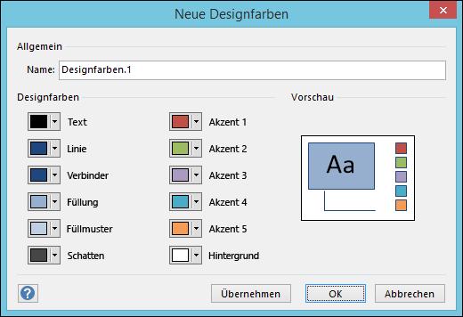"""Screenshot des Dialogfelds """"Neue Designfarben erstellen """" in Visio"""