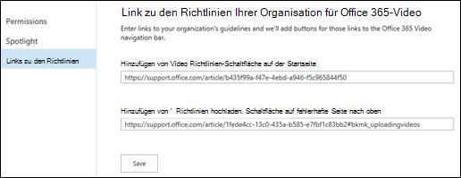 Video Richtlinien für Office 365