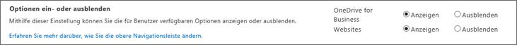 SPO SharePoint-Einstellungen im Abschnitt ein-/ausblenden