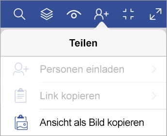 Freigabeoptionen in Visio Viewer für iPad