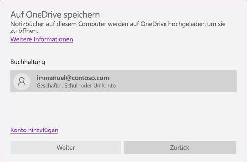 Screenshot von Speichern unter auf OneDrive Aufforderung in OneNote