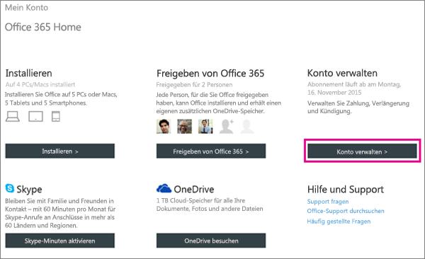 """Screenshot der Seite """"Mein Konto"""" mit ausgewählter Schaltfläche """"Konto verwalten""""."""