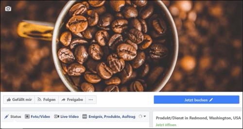 Screenshot: Microsoft Bookings nach dem Herstellen einer Verbindung mit der Facebook-Seite