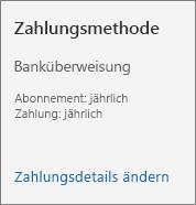 """Abschnitt """"Zahlungsmethode"""" einer Abonnementkarte für ein per Rechnung bezahltes Abonnement."""