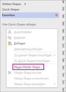 """Klicken Sie unter der Liste der Schablonen mit der rechten Maustaste in das Fenster """"Shapes"""", und klicken Sie dann auf """"Neues Master-Shape""""."""