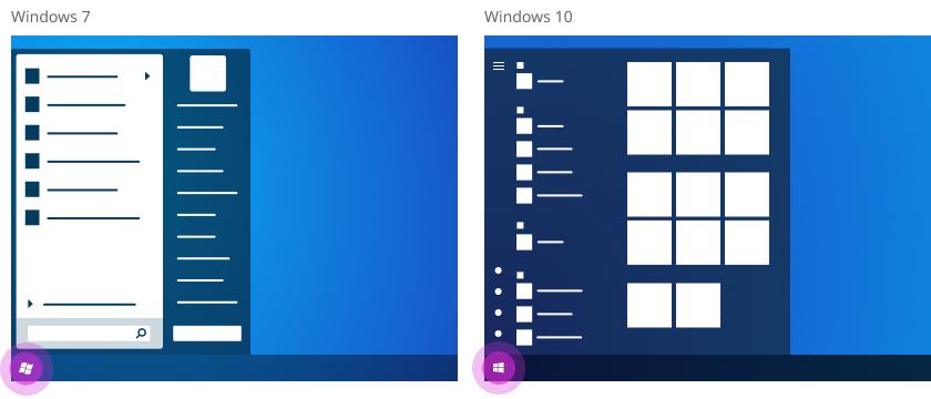 """Ein Vergleich der Schaltfläche """"Start"""" unter Windows 7 und Windows 10."""