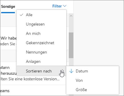 Filtern von E-Mails in Outlook im Web