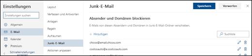 """Ein Screenshot zeigt das Fenster """"Junk-Email"""" im Bereich """"Mail"""" der Einstellungen an."""