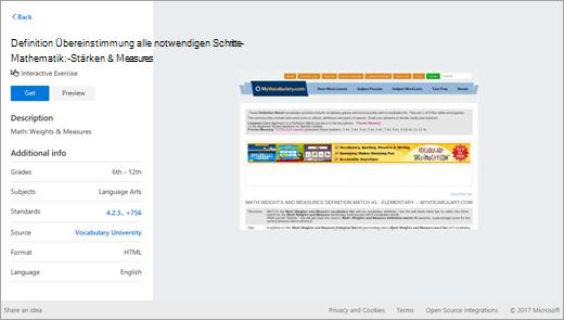 Education Ressourcen Suchergebnis in OneNote