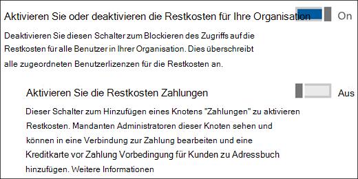 """Bildschirmaufnahme: Zeigt die administrative Berechtigung """"Bookings"""" von der Seite """"Dienste und Add-Ins""""."""