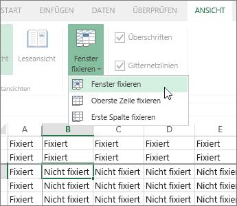 "Registerkarte ""Ansicht"", Menü ""Fenster fixieren"", Befehl ""Fenster fixieren"""