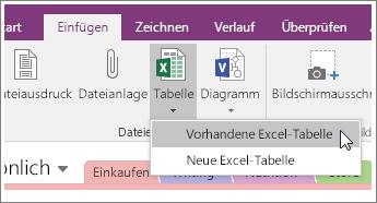 """Screenshot der Schaltfläche """"Tabelle einfügen"""" in OneNote2016"""