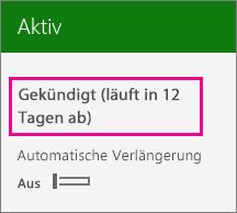 Screenshot eines aktiven Abonnements mit deaktivierter automatischer Verlängerung