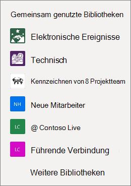 Ein Screenshot einer Liste von SharePoint-Websites auf der OneDrive-Website