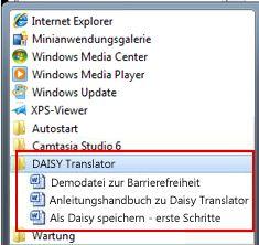 Startmenü mit Daisy-Dateien nach der Installation