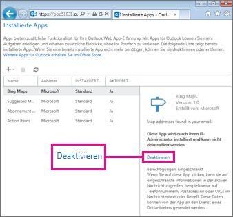Eine App für Outlook deaktivieren