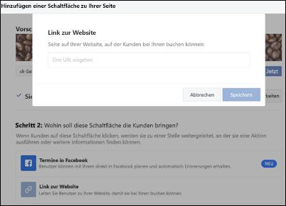 Screenshot: Einfügen der URL Ihrer Buchungsseite