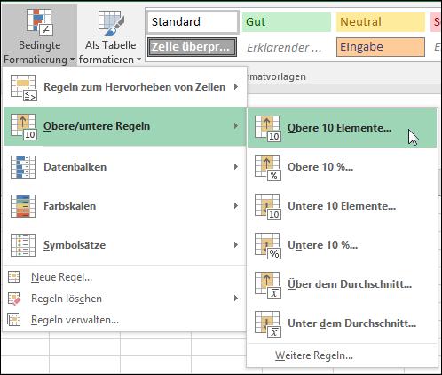 """Bedingte Formatierung, Formatierungsoptionen für """"Obere 10 Elemente"""""""