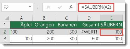 Verwenden von SÄUBERN, um nicht druckbare Zeichen zu entfernen – die Formel in Zelle E2 lautet =SÄUBERN(A2)