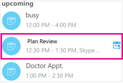 "Bildschirm ""bevorstehende Besprechungen"" mit hervorgehobener Besprechung"