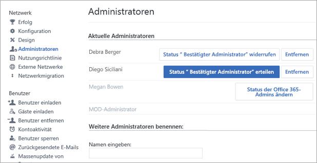 Screenshot mit einer Liste der Administratoren