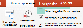 Deaktivieren Sie auf der Registerkarte Bildschirmpräsentation das Kontrollkästchen Kommentare wiedergeben.