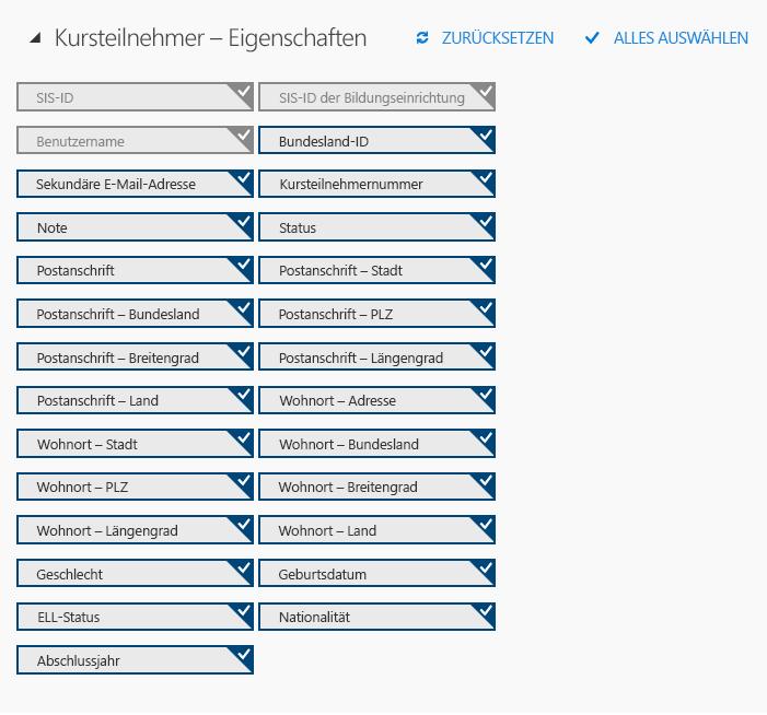 """Optionale und erforderliche Attribute für """"Student.csv"""""""