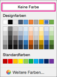 """Schattierungsfarboptionen mit hervorgehobener Option """"Keine Farbe""""."""