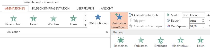 """Klicken Sie auf der Registerkarte """"Animationen"""" auf """"Animation hinzufügen"""", und wählen Sie die gewünschte Animation aus."""