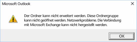 Outlook 2016-Fehler: Der Ordner kann nicht erweitert werden