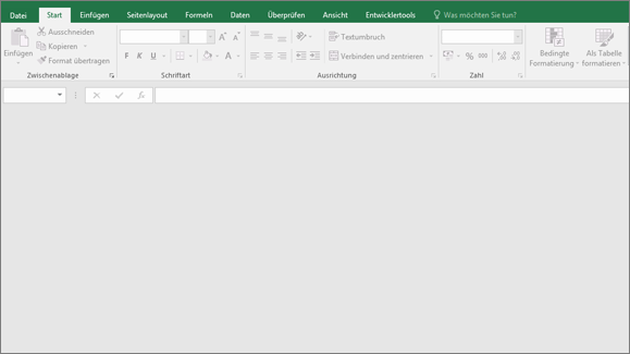 Leeres Excel-Fenster, Schaltflächen nicht verfügbar, keine Arbeitsmappe geöffnet