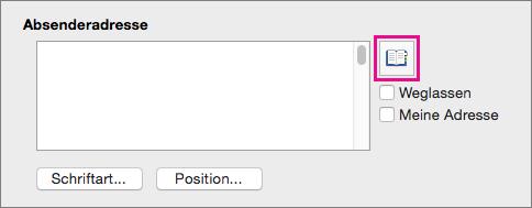 """Deaktivieren Sie """"Meine Adresse verwenden"""", und klicken Sie auf """"Adresse einfügen"""", um eine Absenderadresse aus Ihren Kontakten auszuwählen."""