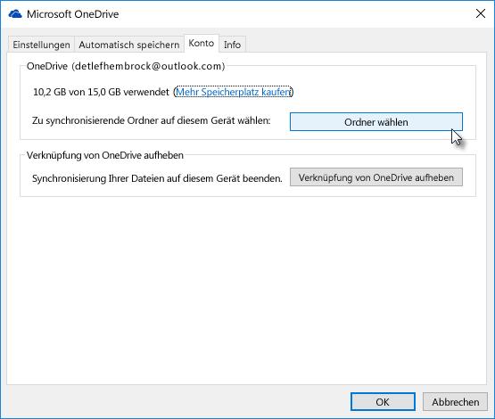 Wählen Sie Ordner für die selektive Synchronisierung von OneDrive aus.
