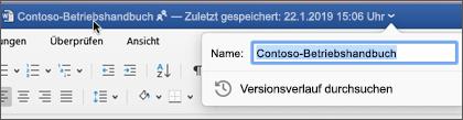 Durch Klicken auf den Dokumenttitel können Sie die Datei umbenennen oder den Versionsverlauf anzeigen.