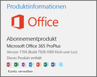 "Versions- und Buildnummer unter ""Produktinformationen"""