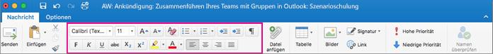 Formatierungsoptionen im Menüband von Outlook für Mac