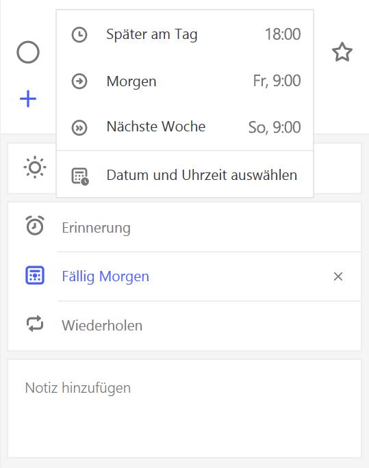 """Screenshot der Detailansicht, """"Mich erinnern"""" ausgewählt"""