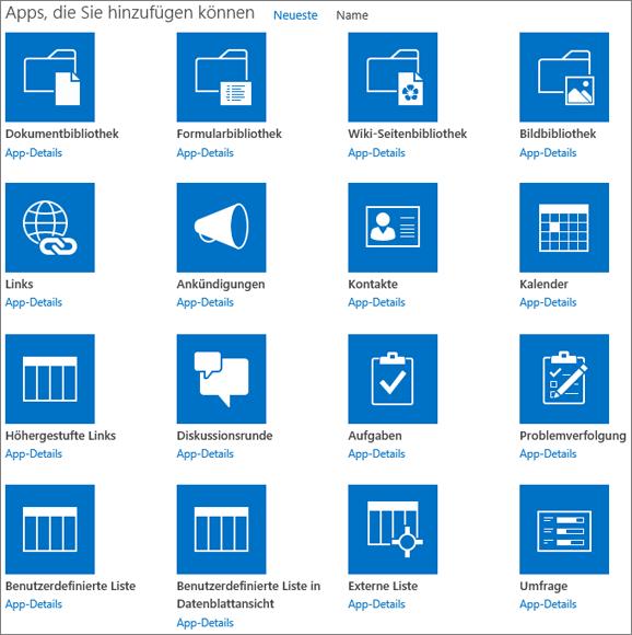 """Screenshot des ersten Bildschirms der Seite """"Ihre Apps"""""""