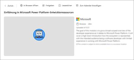 Screenshot der Inhaltsdetails einschließlich Titel, Dauer und Beschreibung