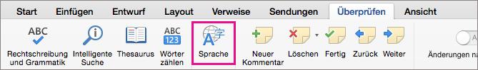 """Klicken Sie auf der Registerkarte """"Überprüfen"""" auf """"Sprache"""", um die Sprache für markierten Text festzulegen."""