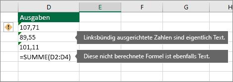 Zellen mit als Text gespeicherten Zahlen mit grünen Dreiecken